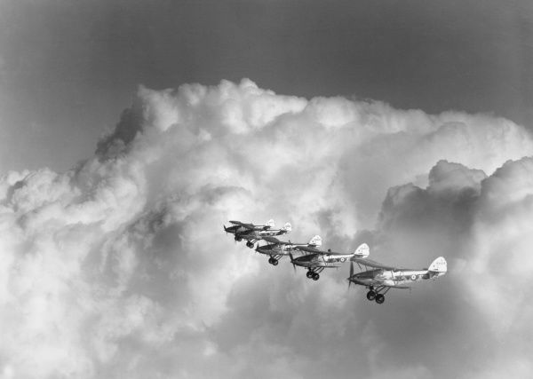 Hawker Demon aircraft of 604 Squadron in flight from RAF Hendon, 1935
