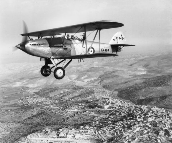 Hawker Hart of 6 Squadron flying over Bethlehem, 1936