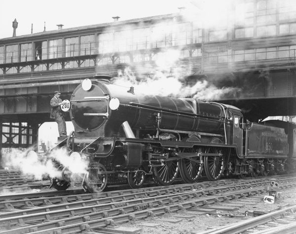 Southern Railway Lord Nelson Class 4-6-0 locomotive 850 Lord Nelson being prepared for its first service from Waterloo