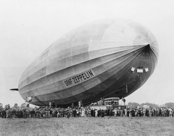 The airship Graf Zeppelin, named after the pioneer Ferdinand Von Zeppelin
