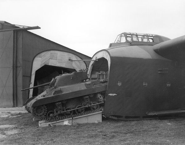 A M22 Locust tank partially in a General Aircraft Hamilcar glider