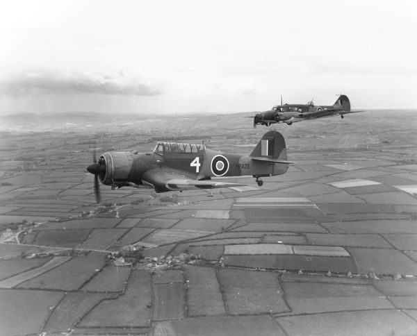 Miles Martinet I and Avro Anson I of 7 Air Gunnery School, in flight from RAF Stormy Down, 21 August 1943