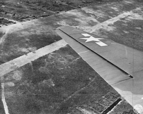 Myitkyina airfield seen from a Douglas C-47 transport of the US Army Air Force, circa 1944
