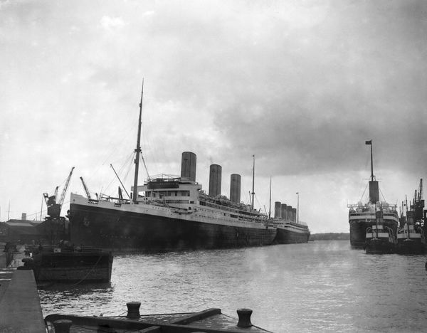 White Star liners Majestic and Olympic in the Ocean Dock, Southamton 1922