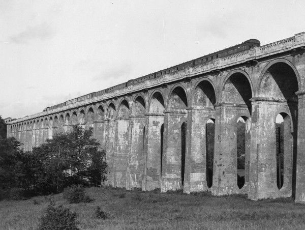 A Southern Railway express crossing the Ouse Valley Viaduct at Balcombe on the London to Brighton line