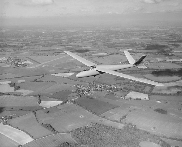 Schempp-Hirth Standard Austria glider (210) in flight, National Gliding Championships, Lasham, 1964