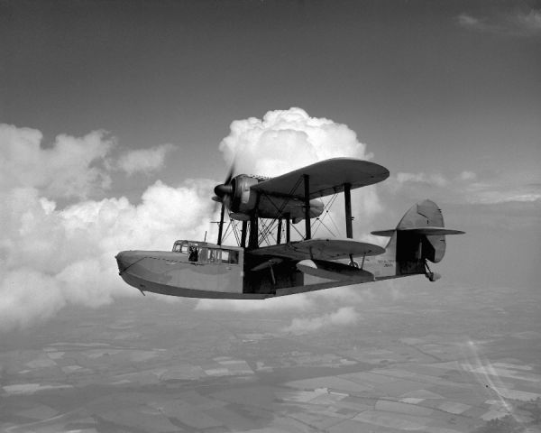 Supermarine Sea Otter I (JM831) in flight, High Post 27 July 1945