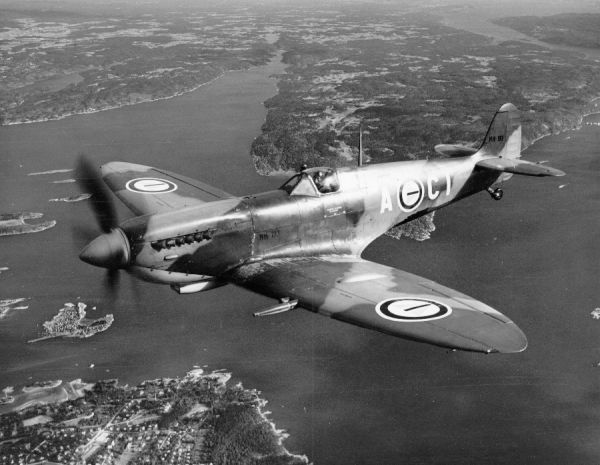 Supermarine Spitfire LF.IXe (NH193 A-CI) of 331 Squadron Royal Norwegian Air Force, in flight over Oslo Fjord, June 1949