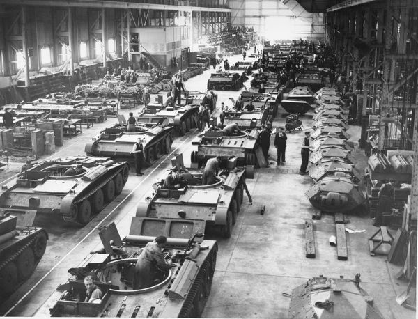 The assembly of Covenanter IV tanks
