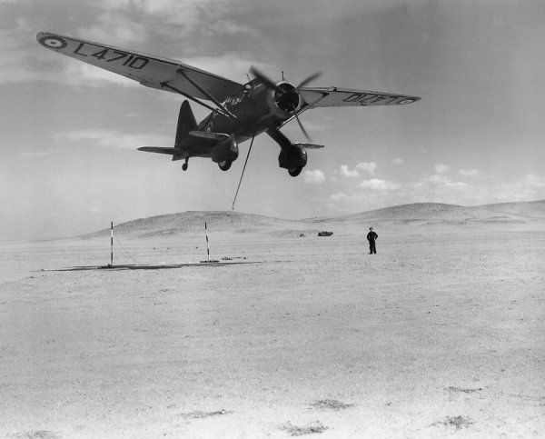 Westland Lysander I (L4723) of 208 Squadron Royal Air Force picking up a message, Heliopolis, 1939