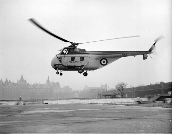 Westland Whirlwind HAR.1 (XA865) at London heliport with an experimental exhaust silencer