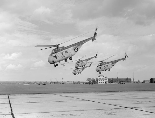 Sikorsky Whirlwind HAS.22 (WV222) and Westland Whirlwind HAS.3 helicopters (XG580 525, XG576 526 and XG582 529) of 705 Squadron, RNAS Ford 1957