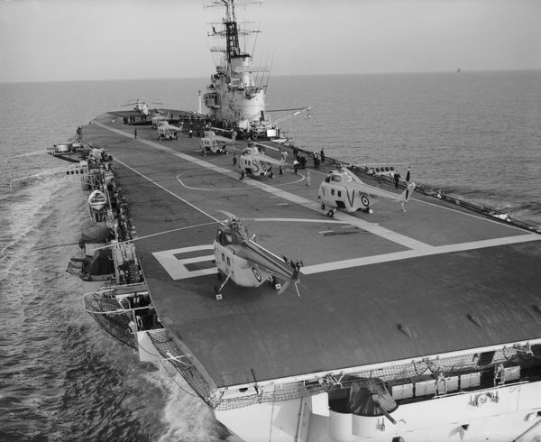 Westland Whirlwind helicopters of 845 Squadron on HMS Bulwark, 1 August 1957