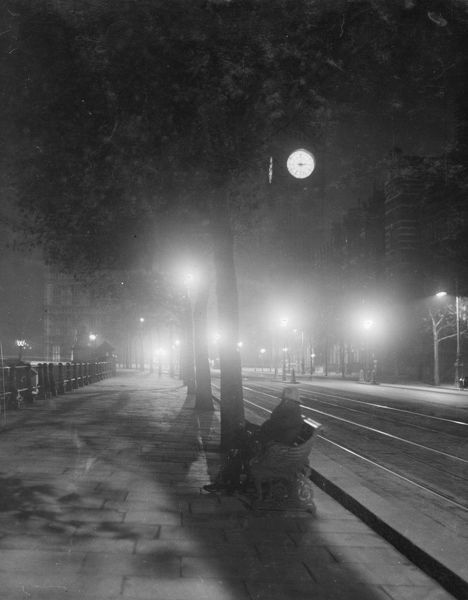 "Westminster at night, possibly one of a series taken in January 1932 for '""The Sphere'&quot"