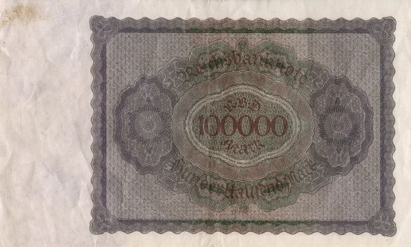 The hyperinflation the Weimar Republic 1921-1923. 100 000 Mark banknote edited in Berlin 1/2 1923. Back. Date: 1921-1923