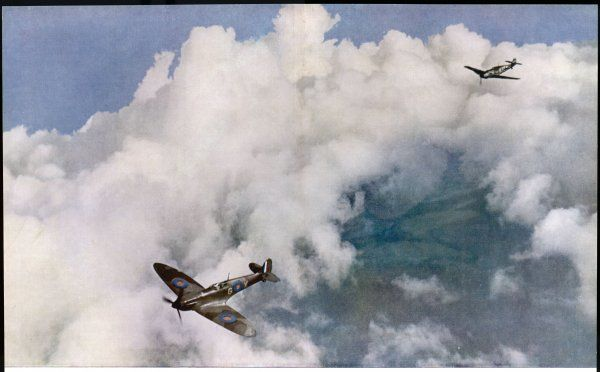 A Messerschmitt 109 in pursuit of a 'Spitfire'. The caption says the German plane will shoot the British one down - but who knows, perhaps it will be the other way about ?