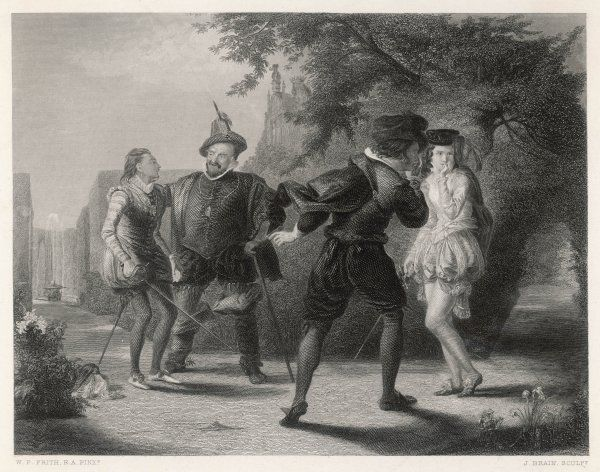 Viola, disguised as a youth, finds herself called upon to fight a duel with sir Andrew Aguecheek - very much against her will