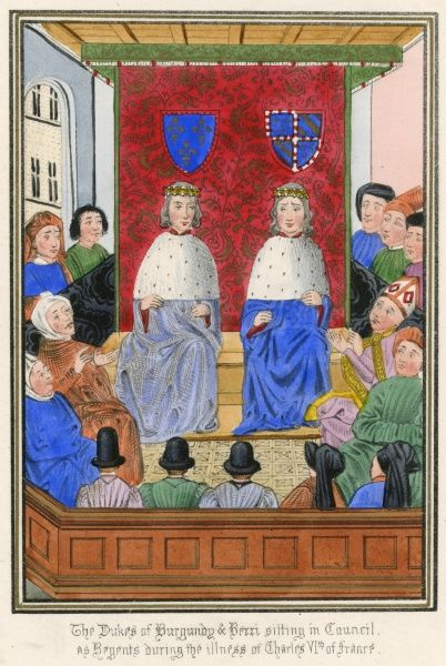 The French court, with the ducs de Bourgogne and Berri acting as regents