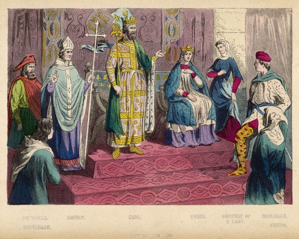 Court scene - king and queen, bishop and courtiers