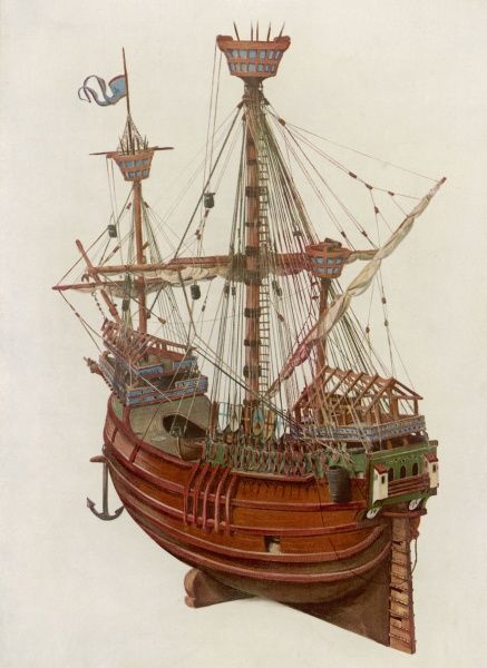 A sailing ship known as a carrack with its three masts, crow's nests and anchor