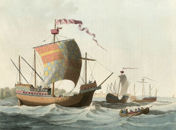 Warships of the period of Edward IV. The larger vessel carries three cannon amidships, behind closed ports which are lowered when the ship goes into action. Date: 1482