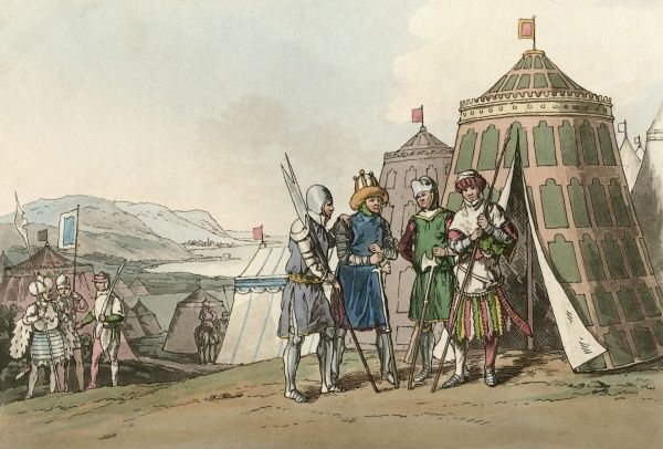 Soldiers of the reign of Henry VI - during the Wars of the Roses - among the tents of their encampment. Date: 1437