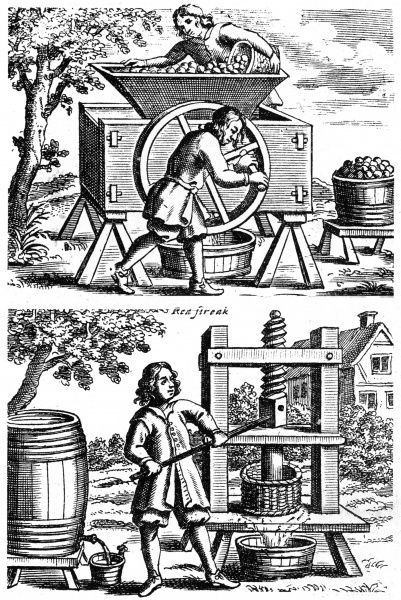 A cider-mill and a cider-press designed by John Worlidge and depicted in his 'Vinetum Britannicum' Date: 1678