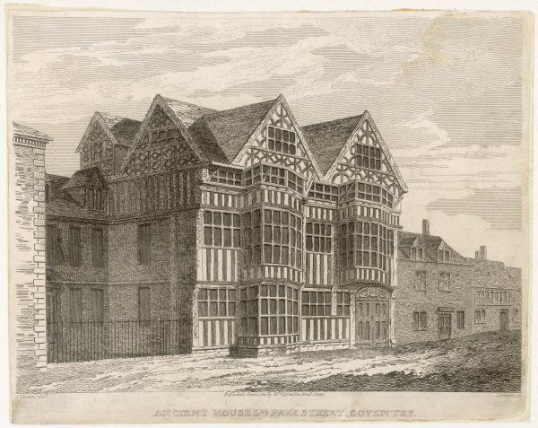 Old houses (circa 1550) in Park St, Coventry. Date: 16th century