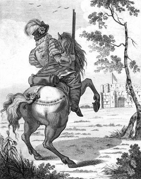 A Yeoman of the Guards during the reign of Elizabeth I is depicted on horseback