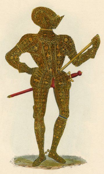 An ornate suit of English armour