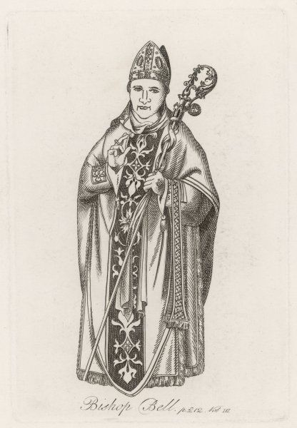 Bishop Bell in his robes, which are pretty well the same as those worn by his successors four centuries later : he carries the crozier, his staff of office