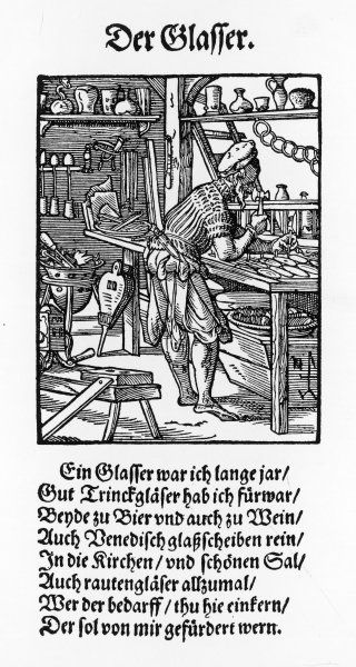 A 16th century glassworker at his workbench