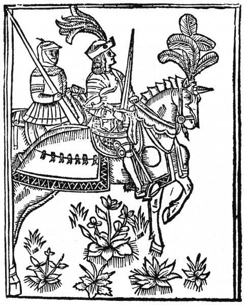 A knight rides forth, sword in hand, accompanied by his squire who carries his lance for him. Date: 1517 ?