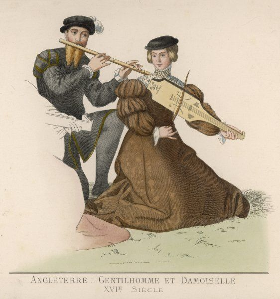 Two English performers - one on the flute, his companion on the viol