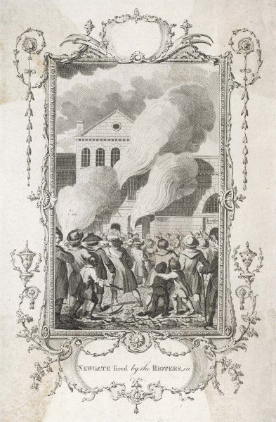 An angry mob sets fire to Newgate Prison after some anti-Catholic rioters are jailed there, seeking revenge and plunder