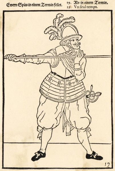 A pikeman with pike and sword by his side