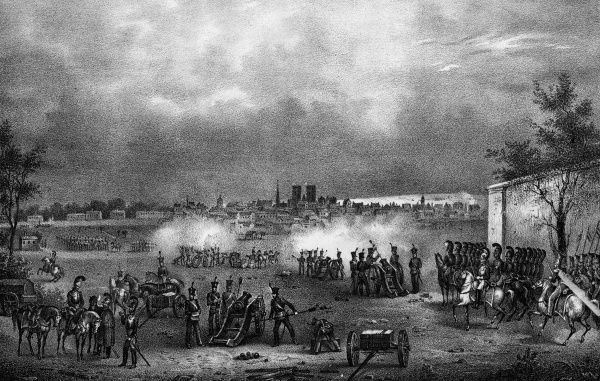 REBELLION : an artillery company mass with their weaponry at the St Josse Ten Noode Cemetery, Faubourg, Brussells during the struggle for Belgian independence. Date: 23 - 26 September 1830
