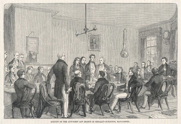 A meeting of the Anti-Corn Law League, in Newall's Buildings, Manchester