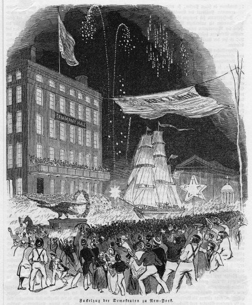 A flamboyant demonstration by New Yorkers in favor of James Polk, the Democratic candidate. He will win and become one of his country;s greatest leaders