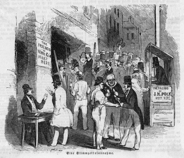 Supporters of the rival candi- -dates for president confront one another in a New York street. Polk will defeat Clay and become one of the finest of American presidents
