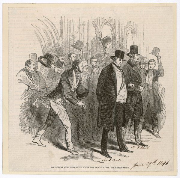 Robert Peel resigns as Prime Minister. His repeal of the Corn Laws had split the Conservative Party, leaving him no option but resignation