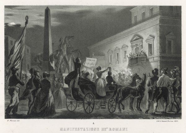 Demonstrations in Rome against Pope Pius IX dissociating himself fromthe movement for Italian unification