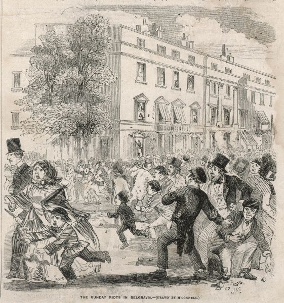 Windows are broken in Belgravia during one of a series of riots in the Hyde Park area during the summer of 1855