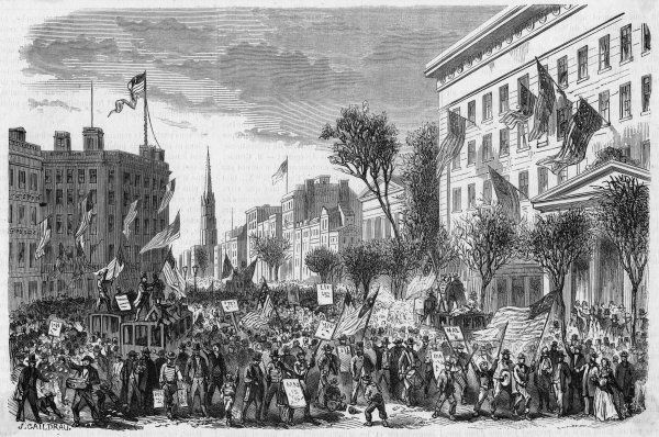 New Yorkers demonstrate in favor of McClellan, the Democratic party's opponent to Lincoln. But Lincoln will win a second term with a landslide victory