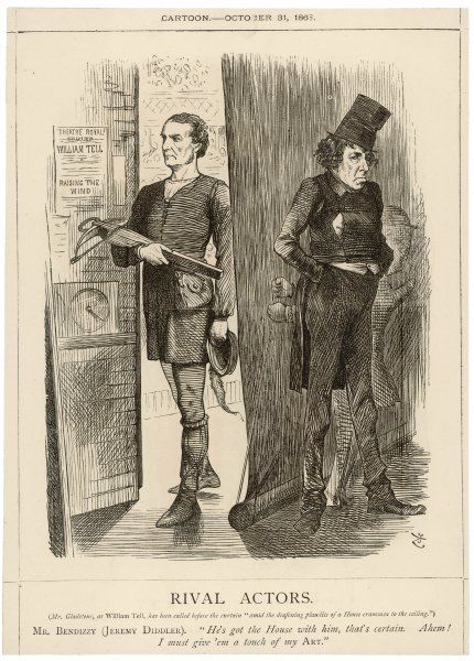'Rival Actors' Gladstone, as William Tell, exits the stage. Disraeli, as Jeremy Diddler (a character from an 1803 farce), waits to enter