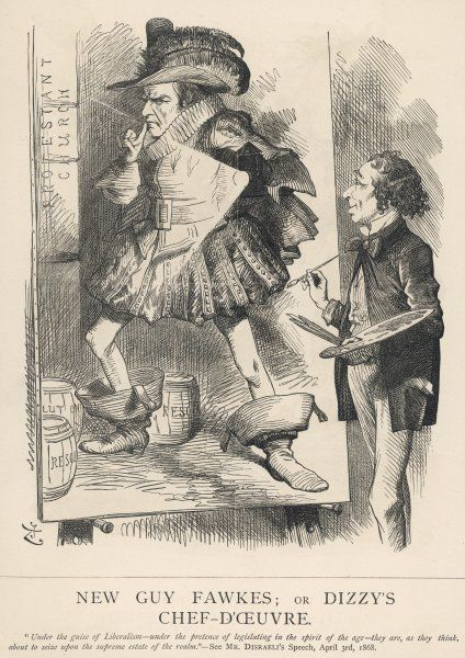 'New Guy Fawkes; or Dizzy's chef-d'oeuvre.' Disraeli depicts Gladstone as Guy Fawkes