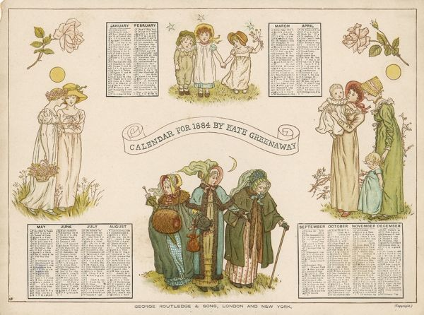 An 1884 Kate Greenaway calendar with pictures of young and old family members