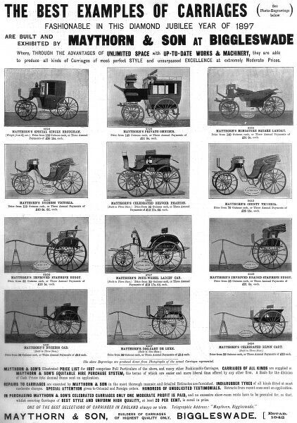 An array of horse-drawn carriages popular in the Diamond Jubilee year of 1897, displayed in an advertisement by Maythorn & Son of Biggleswade