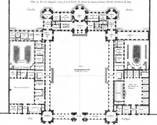 An 18th century plan of a French hotel, designed by Jacques Francois Blondel, architect of King Louis XV. Date: Circa 1760