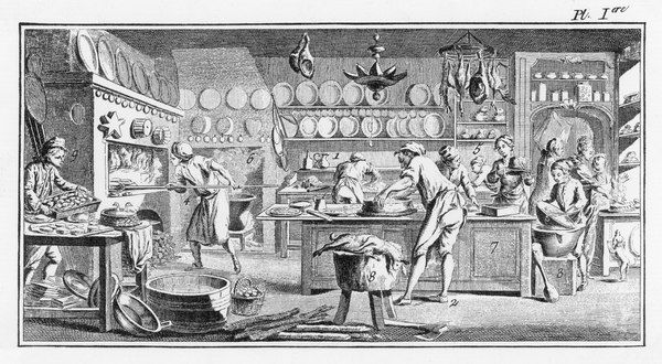 Several cooks work in a French kitchen to prepare and bake pies and pastry, a hare and a bird pie of some kind, perhaps pigeon